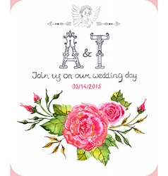 Invitation card with watercolor flowers vector image vector image
