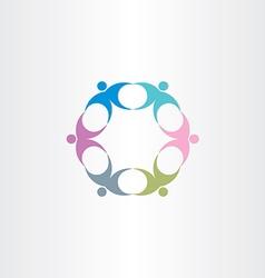 people teamwork circle icon vector image