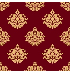 Pretty maroon damask style floral design vector image vector image