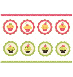 Set of cakes stickers vector image