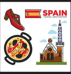 spain travel destination promotional banner with vector image