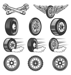 tire service set of car tires isolated on white vector image