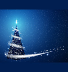 blue christmas tree blizzard snowflakes stars vector image vector image