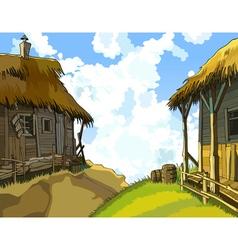 cartoon courtyard with rustic wooden buildings vector image vector image