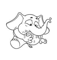 Elephant my foot in my mouth cartoon vector