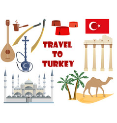 travel to turkey symbols of turkey tourism vector image vector image