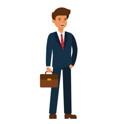 young happy businessman cartoon flat vector image vector image