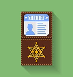 Icon of Sheriff Badge With Id Case holder Flat vector image vector image