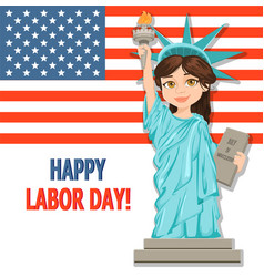 labor day greeting card with usa flag and girl vector image vector image
