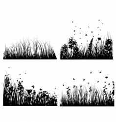 meadow silhouettes set vector image vector image