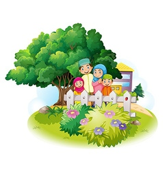 Muslim family in the garden vector image vector image