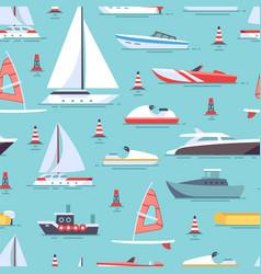 sailboats and boats seamless pattern design vector image