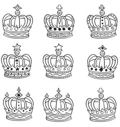 set of hand drawn crowns doodle vector image