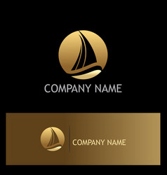 ship yacht gold logo vector image