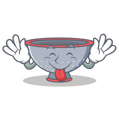 Tongue out colander utensil character cartoon vector