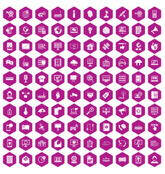 100 telecommunication icons hexagon violet vector