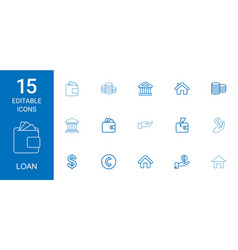 15 loan icons vector