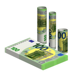 A pack 100 euro banknotes and 3d rolled up vector