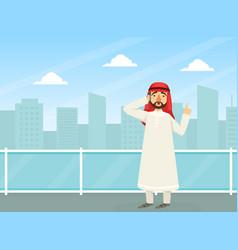 arab businessman talking on phone arabic office vector image