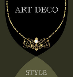 Art deco jewel vintage gold necklace in victorian vector