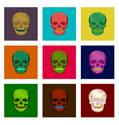 Assembly of flat shading style icon skull vector