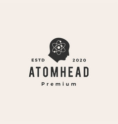 atom head hipster vintage logo icon vector image