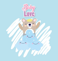 bashower cute bear clouds heart love decoration vector image