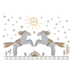 beautiful card with horses flowers and symbols vector image