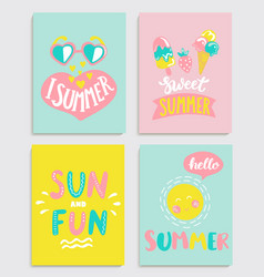 beautiful set of bright summer cards vector image