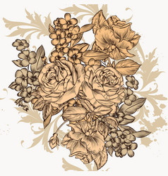 beautiful vintage background with flowers vector image