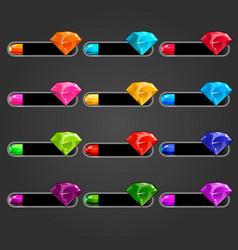Big set bar downloader with different gems vector