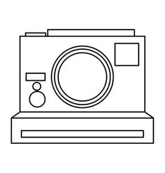 Black line polaroid photographic camera vector