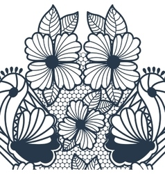 Blue abstract pattern with butterflies and flowers vector