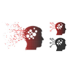 Broken pixelated halftone brain interface circuit vector