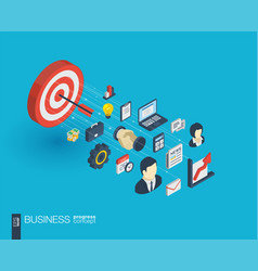 business integrated 3d web icons growth and vector image