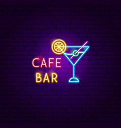 cafe bar neon label vector image