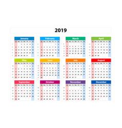 Calendar 2019 week starts from sunday business vector