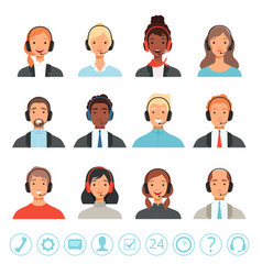 Call center operators avatars male and female vector