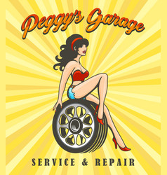 Car service poster with biker girl vector
