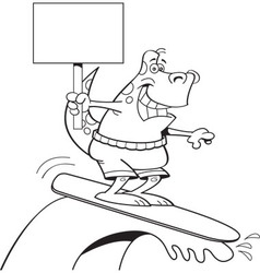 Cartoon dinosaur surfing and holding a sign vector image