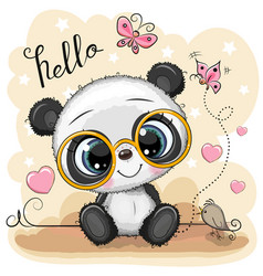 cartoon panda with glasses on a yellow background vector image