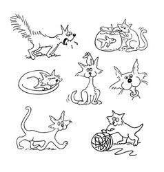 cat cartoon set outlined cartoon drawing sketch vector image