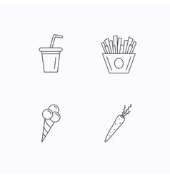 Chips fries ice cream and soft drink icons vector image