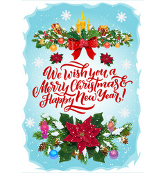 christmas gifts presents and balls xmas garland vector image
