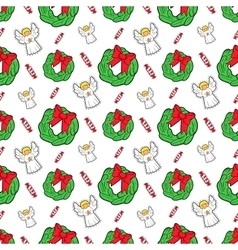 Christmas Seamless Pattern with Angels vector