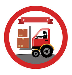 Circular emblem with forklift truck with forksand vector