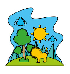 color sun with tree and male lion in the landscape vector image