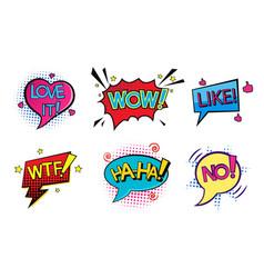 Comic pop art speech bubbles set vector