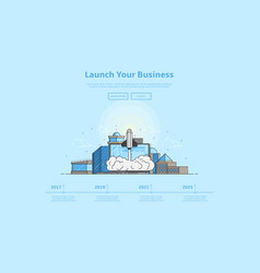 concept of web banner with launch rocket vector image