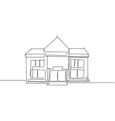 Continuous one line drawing elementary school vector